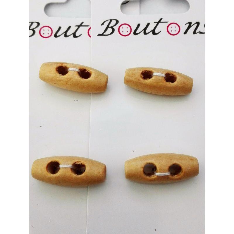 4 boutons buchette en bois 25 mm coloris naturel la - Buchette de bois ...
