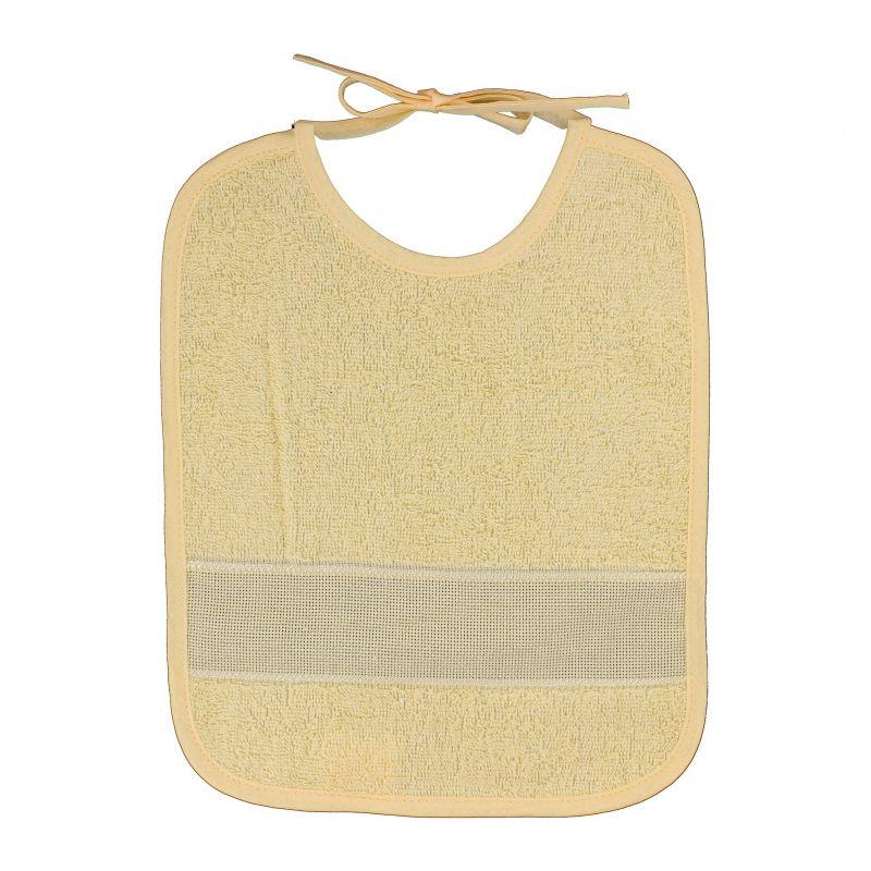 bavoir broder sans poche point de croix coloris jaune taille 6 mois 1 an. Black Bedroom Furniture Sets. Home Design Ideas