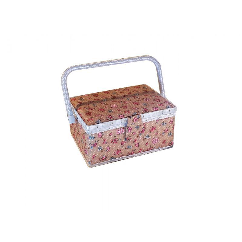 tr s belle boite couture petites fleurs fond marron orang