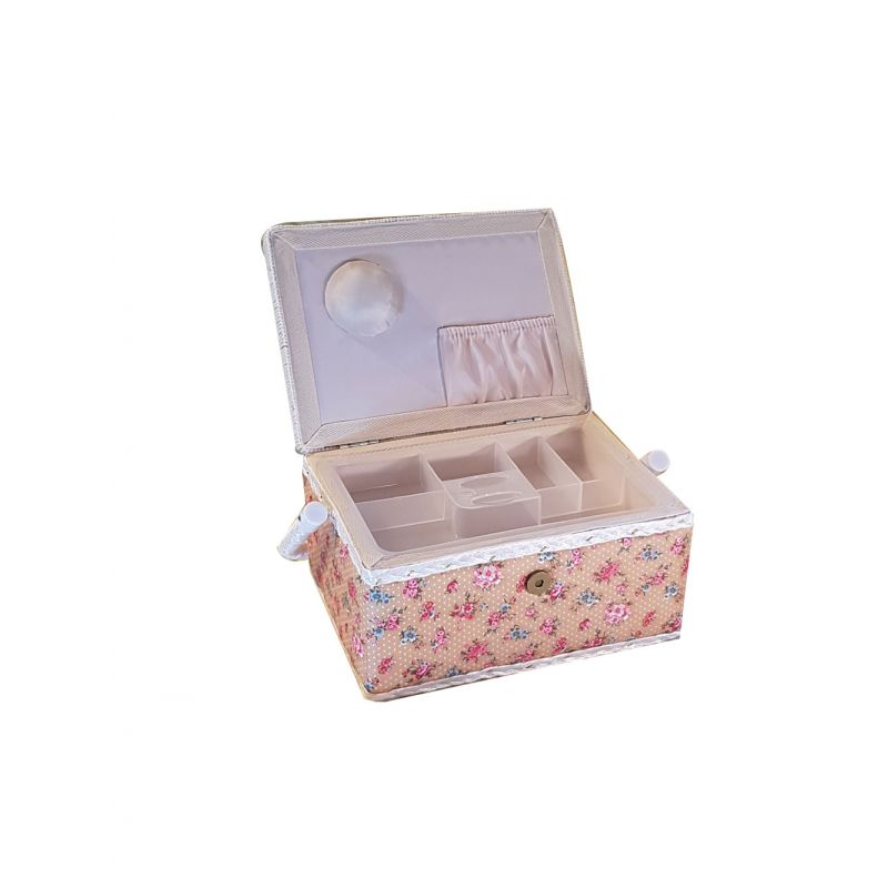 Tr s belle boite couture petites fleurs fond marron orang for Boite a couture tres originale